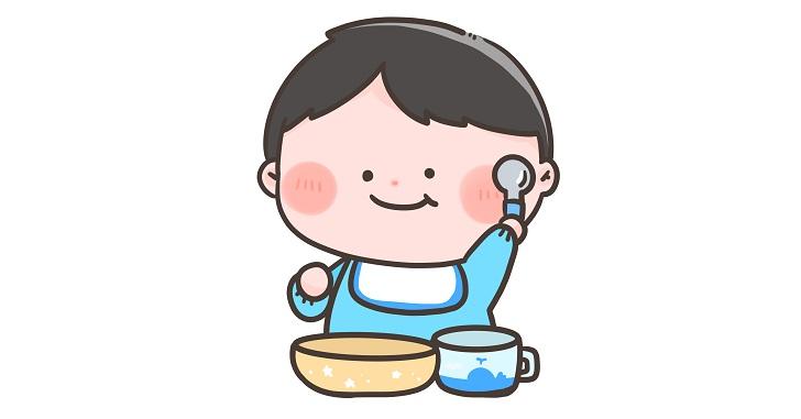 離乳食を食べる男の子