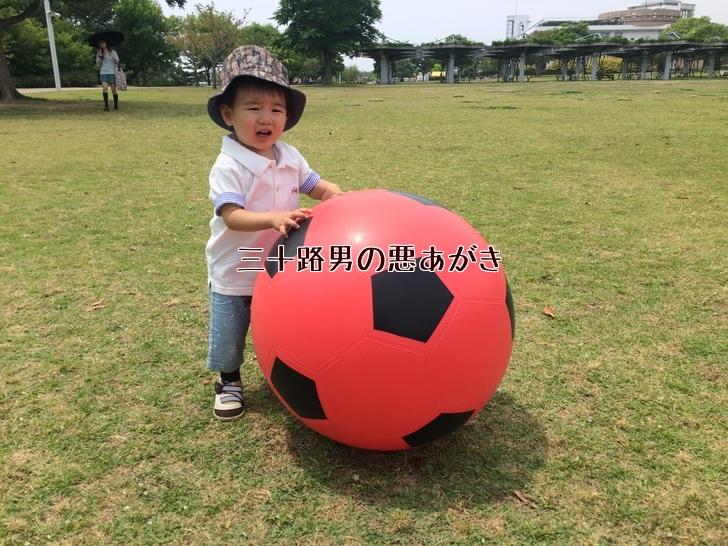 大きなボールで遊ぶ子供